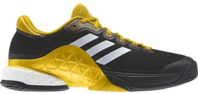 Кроссовки для тенниса мужские Adidas Barricade 2017 Boos, цвет: черный, желтый, белый. CG3087. Размер 14 (49)CG3087Контролируйте ход игры и побеждайте в каждом сете. Мужские теннисные кроссовки Adidas Barricade 2017 Boos с амортизацией boost возвращают энергию каждого шага и обеспечивают устойчивость на любой поверхности даже на высоких скоростях.Бесшовный вязаный верх плотно обхватывает ногу, обеспечивая надежную посадку. Вязаный верх естественным образом растягивается, адаптируясь под форму стопы, и ,таким образом, снижает риск раздражения кожи и обеспечивает комфортную посадку; бесшовная конструкция подкладки плотно облегает стопу для комфортной посадки. Износостойкая вставка ADITUFF в передней и средней части кроссовка защищает стопу от пробуксовки и подворачивания во время подач, ударов с лета и резких боковых движений. Гибкий мысок позволяет пальцам двигаться естественно. Каркас BARRICADE поддерживает и стабилизирует среднюю часть стопы во время динамичных маневров на корте. Анатомическая конструкция GEOFIT для комфорта; слегка расширенная передняя часть. Исключительно износостойкая подошва ADIWEAR.
