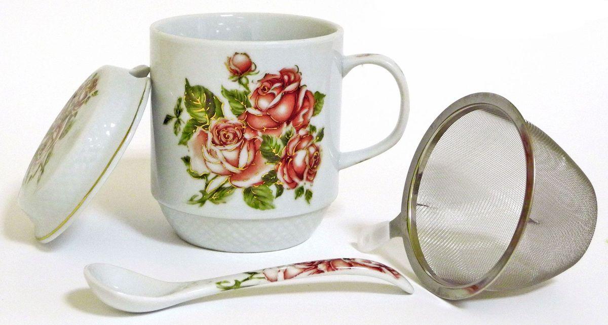 Кружка заварочная Briswild Коралловые розы, с ситом и ложкой, 350 мл545-786