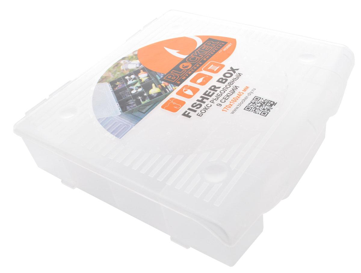 Коробка для приманок Blocker Рыбак, 9 секций, цвет: прозрачный, 17 x 16 x 4,5 смBR3730ПРУдобная коробка для приманок Blocker Рыбак выполнена извысококачественного пластика и предназначенадля хранения рыболовных приманок. Изделие имеет 9 секций.