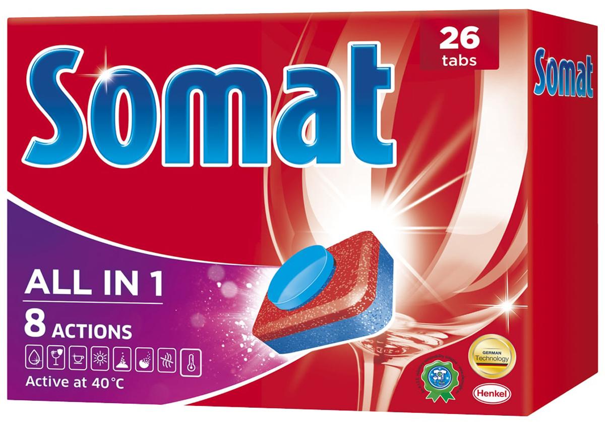 Таблетки для посудомоечной машины Somat All in 1, 26 шт935248Сомат Все-в-1 с активной формулой обеспечивает кристальную чистоту и сияющий блеск вашей посуде и включает следующие функции: - Очиститель - для великолепной чистоты. - Функция ополаскивателя - для сияющего блеска. - Функция соли - для защиты посуды и стекла от известкового налета. - Удаление пятен от чая. - Защита посудомоечной машины против известковых отложений. - Функция замачивания - эффективен как при замачивании. - Активная формула Пауэр Бустер помогает устранить засохшие остатки пищи. Товар сертифицирован.