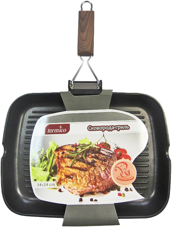 Сковорода-гриль Termico, с антипригарным покрытием, 34 x 24 x 5 см220455Литой алюминий, индукционное дно, антипригарное покрытие, складывающаяся ручка. Идеальна для приготовления стейков.
