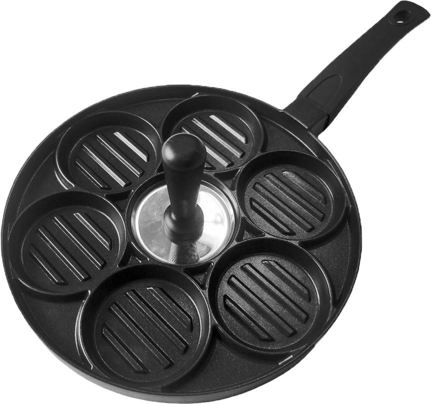 Сковорода-гриль Nice Cooker для котлет, с антипригарным покрытием. Диаметр 26 см220458Сковорода-гриль Nice Cooker применяется для приготовления котлет, гамбургеров, оладьев. Характеристики:Диаметр: 26 см Материал: алюминий, пластикФорма: круг Совместимые плиты: газовые, электрические Покрытие: антипригарное.