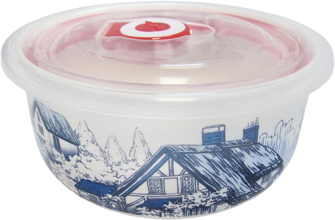 """Круглый контейнер Termico """"Гжель"""", изготовленный из фарфора, оформлен изображением и предназначен для хранения любых пищевых продуктов. Пластиковая крышка с силиконовой вставкой герметично защелкивается специальным механизмом.  Контейнер Termico """"Гжель"""" удобен для ежедневного использования в быту. Можно мыть в посудомоечной машине, а также использовать в микроволновой печи и холодильнике."""