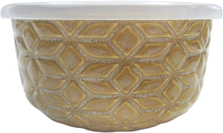 Контейнер пищевой Termico Ромб, 500 мл402011Круглый контейнер Termico Ромб, изготовленный из керамики, предназначен для хранения любых пищевых продуктов. Крышка выполнена из пластика.Контейнер Termico Ромб удобен для ежедневного использования в быту. Можно мыть в посудомоечной машине, а также использовать в микроволновой печи и холодильнике.