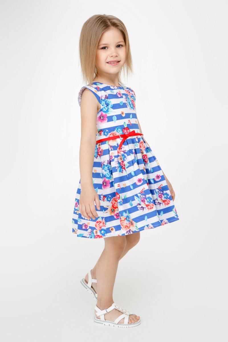 Платье для девочки Overmoon Juli, цвет: синий. 21220200007_500. Размер 10421220200007_500Стильное платье для девочки Juli выполнено из 100% хлопка. Модель без рукавов имеет удлиненную линию плеча, пышную юбку в складку и круглый вырез горловины. На спинке расположена застежка-молния. Платье дополнено принтом в полоску и цветочным рисунком, также предусмотрен пояс-ленточка.