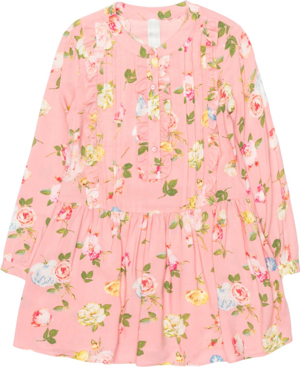 Платье для девочки Overmoon Medenija, цвет: розовый. 21220200018_1400. Размер 9821220200018_1400Стильное платье для девочки Overmoon Medenija выполнено из 100% вискозы. Модель имеет длинные рукава, круглый вырез горловины с застежкой на пуговицу и пышную юбочку. Платье дополнено декоративной планкой с пуговицами, украшено цветочными принтом и оборками.