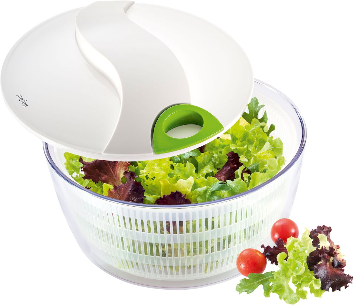 Сушилка для салатных листьев Moha Turby, цвет: белый, диаметр 24 см10405Сушка для салата применяется для удаления влаги с салатов и овощей после мойки. Сушка разбирается, что облегчает его мытье. Плоская крышка обеспечивает удобство хранения емкости в холодильнике, благодаря чему зелень сохраняет свежесть в течение нескольких дней. Легка в применении: поместите зелень в корзину и промойте под проточной водой, поместите корзину в емкость и закройте крышку, возьмите ручку и прокрутите ручку. Корзина внутри начнет вращаться. В процессе вращения с зелени устраняются остатки воды и загрязнений. Остановите вращение. Ваша зелень готова к употреблению. Сито можно использовать как дуршлаг.