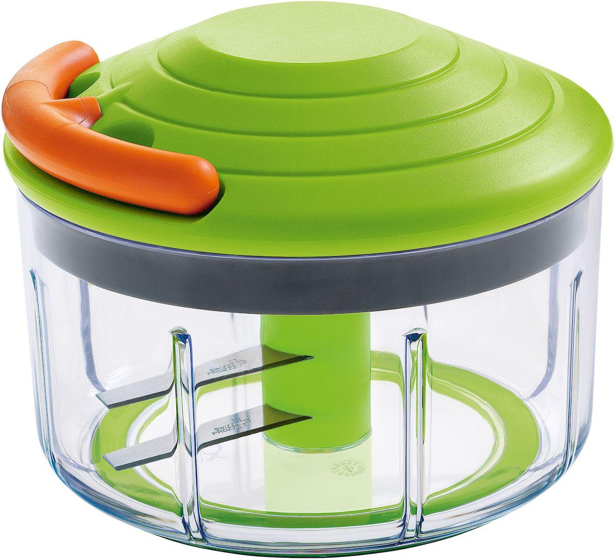 Измельчитель-чоппер Moha Speedy, цвет: зеленый, оранжевый, 0,6 л15007Чоппер выполнен из экологически чистого пластика. Нож из нержавеющей стали. Удобная эргономичная рабочая ручка поможет без труда и усилий измельчить любые овощи. Практичный поворотный механизм создан специально для получения мелких кубиков. Идеален для резки лука, зелени и других овощей. Можно использовать для приготовления соусов.