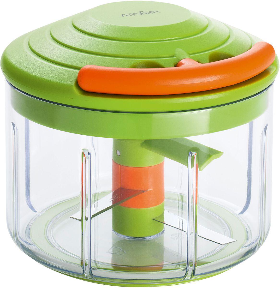 Измельчитель-чоппер Moha Speedy Max, со смесителем, крышкой для хранения, цвет: зеленый, оранжевый, 0,7 л15017Чоппер выполнен из экологически чистого пластика. Нож из нержавеющей стали. Удобная эргономичная рабочая ручка поможет без труда и усилий измельчить любые овощи. Практичный поворотный механизм создан специально для получения мелких кубиков. Идеален для резки лука, зелени и других овощей. Можно использовать для приготовления соусов.