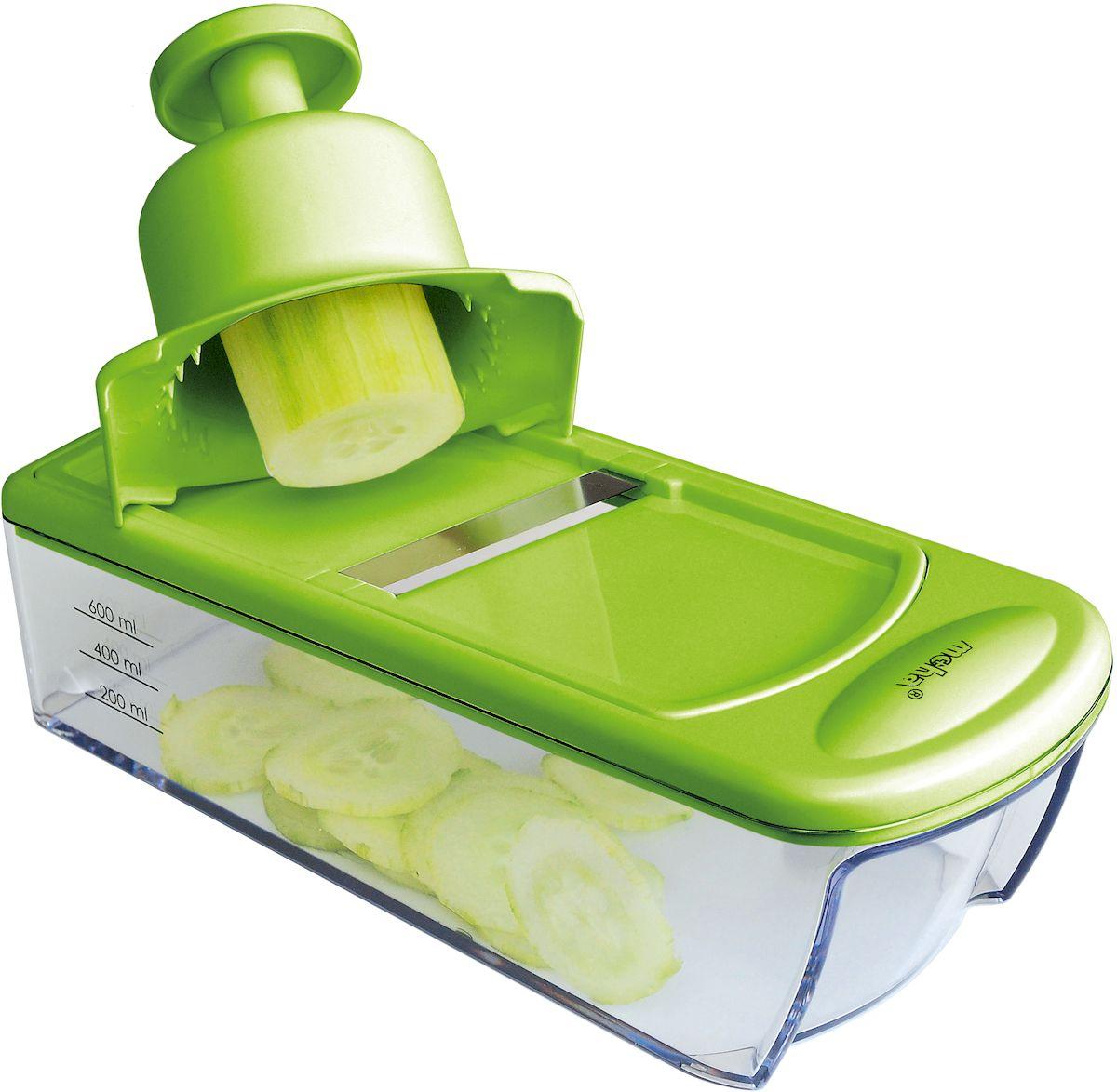 Терка для овощей Moha Mandolinetta, с толкателем безопасности и 4 сменными лезвиями, цвет: зеленый25225Терка для овощей с 4 съемными насадками для различных режимов измельчения выполнена из пластика и стали. В комплекте контейнер для удобства использования, а также держатель для овощей - защиты пальцев рук.