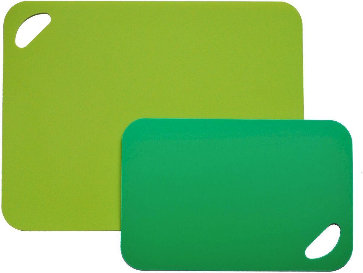 Набор разделочных досок Moha Flex&Stable, цвет: темно-зеленый, светло-зеленый, 2 шт41214Набор досок из 2-х предметов подходят для ежедневного использования. В наборе доска темно-зеленого цвета и светло-зеленого цветов. При использовании доски не впитываются запахи от продуктов и не окрашиваются. Можно мыть в посудомоечной машине.