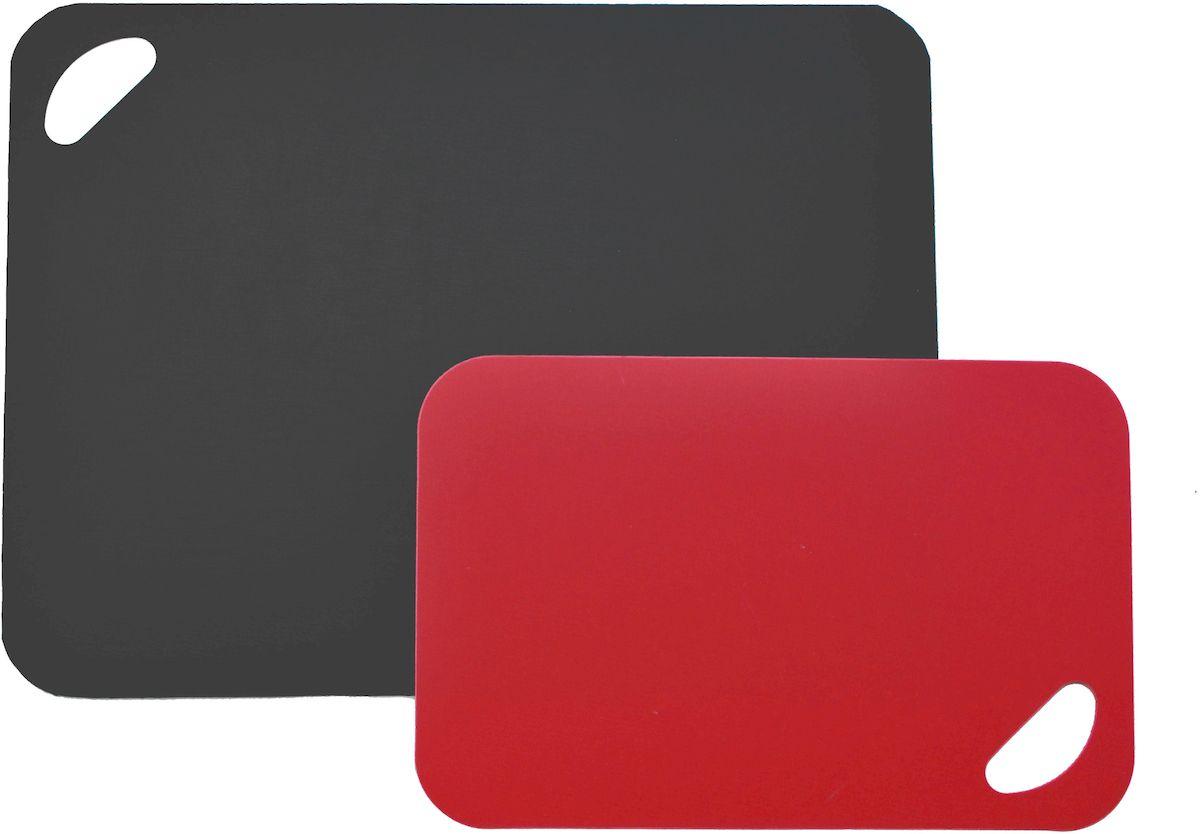Набор разделочных досок Moha Flex&Stable, цвет: красный, черный, 2 шт41216Набор досок из 2-х предметов подходят для ежедневного использования. В наборе доска темно-зеленого цвета и светло-зеленого цветов. При использовании доски не впитываются запахи от продуктов и не окрашиваются. Можно мыть в посудомоечной машине.