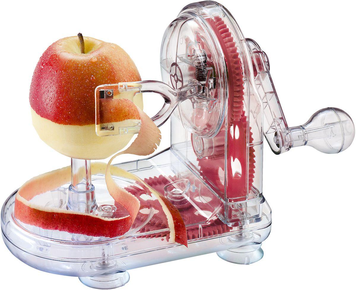 Устройство для снятия яблочной кожуры Moha Rapid Peeler, цвет: красный, прозрачный45414Чистка яблока в течение нескольких секунд! Поместите яблоко на металлический наконечник и поверните рукоятку. Идеально подходит для чистки яблок, груш, картофеля, сельдерея и т.д. Рекомендуется мыть вручную.