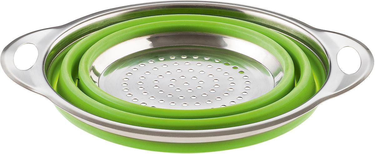 Дуршлаг складной Moha Sico, цвет: зеленый, диаметр 20 см68514Складной дуршлаг из силикона и стали идеален не только для слива жидкости, но и удобен и компактен в хранении. Дно из стали гарантируют прочность и удобство в обращении. Противоскользящие ножки позволяют воде течь.