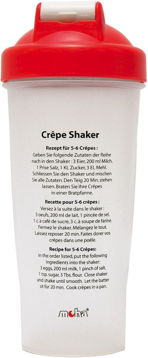 Шейкер для блинов Moha Crepes Shaker, цвет: красный, 600 мл69116Идеально подходит для приготовления блинов, молочных коктейлей, омлетов, заправки для салатов. На корпусе рецепт приготовления. Запатентованный Блендер мяч, который входит в комплект, позволяет более быстро и эффективно взбивать ингредиенты.