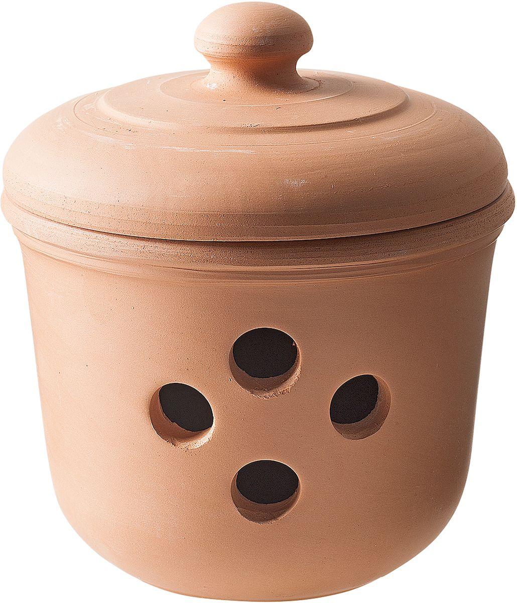 Емкость для чеснока Moha Unio, цвет: коричневый, диаметр 11,5 см83010За счет уникальных свойств глины в керамической посуде очень хорошо хранить лук, чеснок и корнеплоды. Отверстия в стенках банки обеспечивают приток воздуха, чтобы овощи как можно дольше оставались свежими. Эстетичный внешний вид позволяет использовать в качестве декора кухни и поставить на видное место.