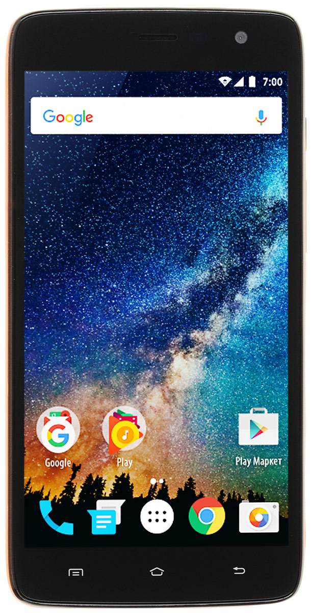 Vertex Impress Saturn, OrangeSTRN-RNGСмартфон Impress Saturn - доступный и функциональный 4G смартфон с HD дисплеем.Корпус смартфона выполнен в стильном дизайне и ярких цветах. Задняя панель корпуса имеет сглаженные края, благодаря чему смартфон эргономичен и его приятно держать в руке. Задняя панель глянцевая и выполнена в трех цветах: классический черный, нежный золотой и дерзкий оранжевый.Смартфон Impress Saturn оснащен 5-ти дюймовым IPS дисплеем c разрешением HD, что позволяет максимально комфортно использовать возможности модели: просмотр фото и видео, серфинг в интернете, работа программ и приложений, чтение книг и другие функции. Смартфон Impress Saturn оснащен мощным аккумулятором емкостью 2200 мАч, что обеспечивает длительное время работы смартфона в активном режиме. Благодаря 4-х ядерному процессору модель Impress Saturn превосходно справляется с решением повседневных задач. Мощность процессора Spreadtrum SC9832 обеспечивает бесперебойную работу операционной системы и установленных приложений. Смартфон оснащен 1 ГБ оперативной памяти и 8 ГБ встроенной, что позволяет эффективно использовать возможности интерфейса: Интернет, игры, приложения, фото и видео съемка, электронные книги и прочие дополнительные smart-функции.Смартфон получил новейшую операционную систему Android 7.0 Nougat. Новая ОС стала еще более функциональной и удобной для пользователя. В Android 7.0 появляется ряд дополнительных возможностей и режимов работы, в большей степени ориентированных на пользователя. Смартфон Impress Saturn поддерживает высокоскоростной 4G интернет, что обеспечивает быструю передачу данных. Благодаря доступу к сетям LTE веб-серфинг стал еще проще и комфортнее: быстрая загрузка интернет-страниц, мгновенная отправка сообщений и файлов, просмотр видео на высокой скорости. Игры, фильмы, социальные сети - все намного быстрее!Наличие двух камер 5 МП и 2 МП дает возможность делать отличные фото, снимать видео, совершать видеозвонки, общаться в Skype и т.д. Дополнительные пре