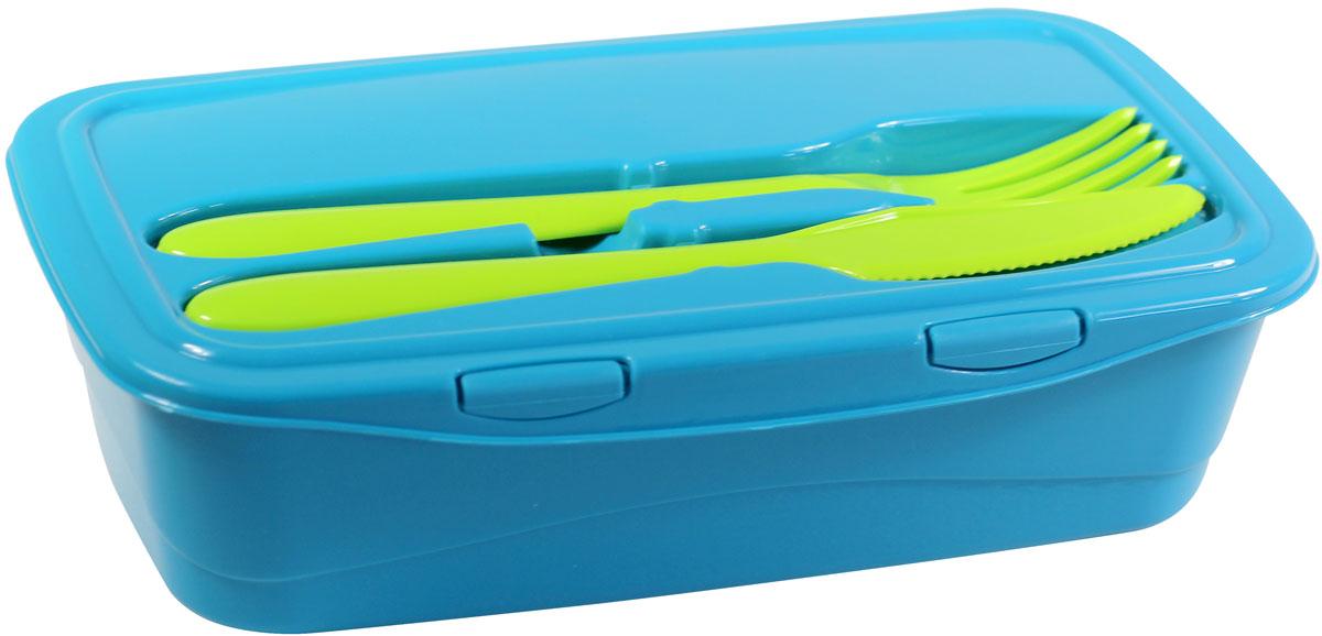 Контейнер пищевой Idea, со столовыми приборами, цвет: бирюзовый, 1 лМ 1235_бирюзовыйПищевой контейнер Idea, выполнен из безопасного пластика, устойчивого к воздействию ультрафиолетовых лучей и не впитывающего запахи. Изделие имеет ультра модныйцвет с учетом современного тренда. Крышка контейнера оборудована специальной выемкой дляудобного хранения столовых приборов. Находясь в углублении, вилка и нож, надежно закреплены в пазах, не вылетают и не цепляются при переноске.Удобство контейнера в универсальности: контейнер можно использовать в СВЧ-печи, мыть в посудомоечной машине, хранить в морозильной камере.Размер: 6 х 22 х 13 см. Общая длина вилки/ножа: 18 см. Длина лезвия ножа: 7 см. Размер рабочей части вилки: 5 х 3 см.