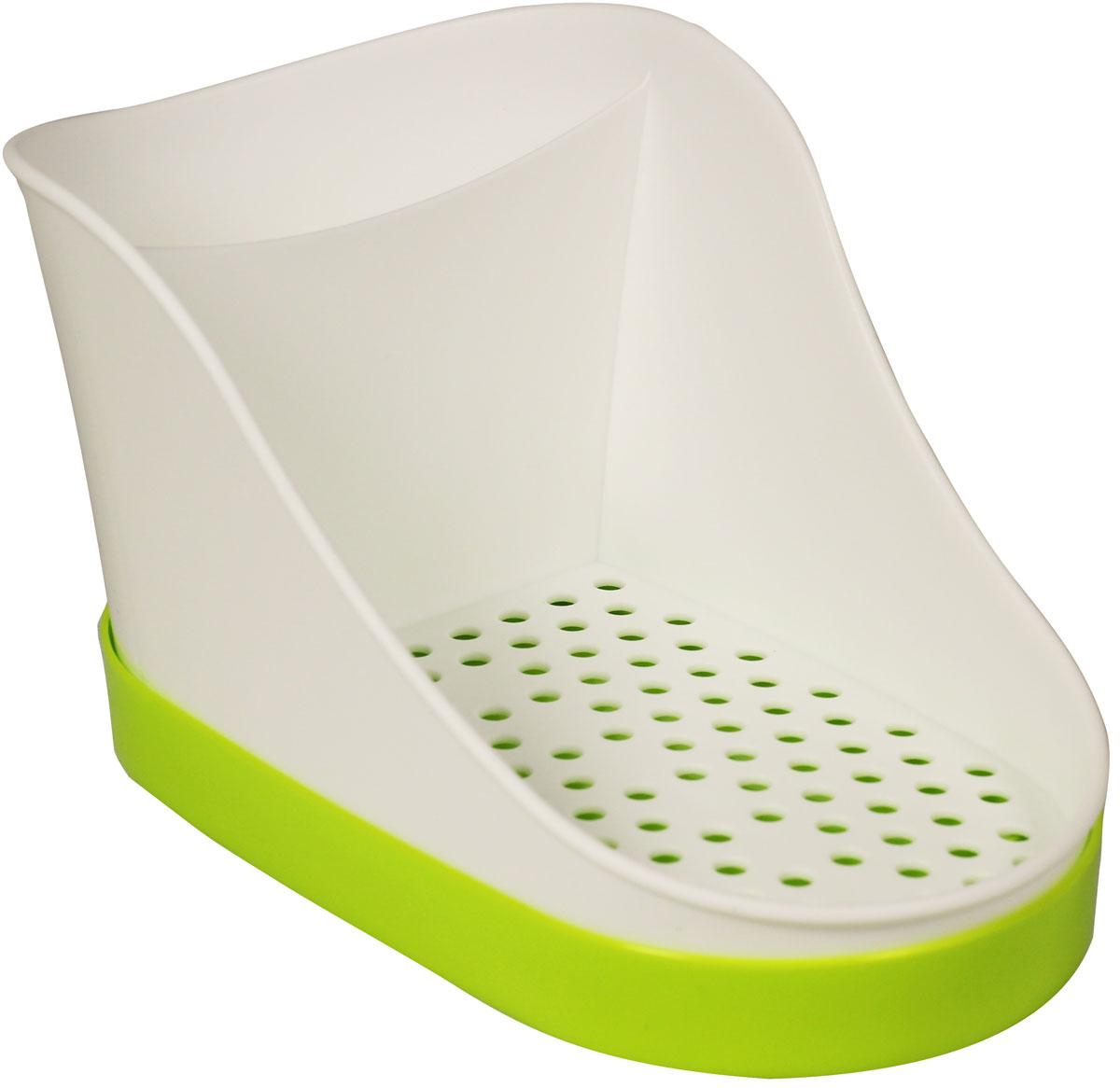 Подставка для моющих средств Idea, цвет: салатовый, 10,5 х 12,5 х 18,5 смМ 1148_салатовыйПластиковая подставка для моющих средств Idea состоит из двух отделений: большого для моющих средств, губки или мыла и отделения для щеток. Поддон для сбора воды легко снимается и моется. Современные плавные формы, стильный дизайн.Размер: 10,5 х 12,5 х 18,5 см.