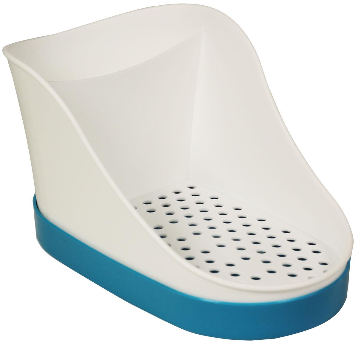 Подставка для моющих средств Idea, цвет: бирюзовый, 10,5 х 12,5 х 18,5 смМ 1148_бирюзовыйПластиковая подставка для моющих средств Idea состоит из двух отделений: большого для моющих средств, губки или мыла и отделения для щеток. Поддон для сбора воды легко снимается и моется. Современные плавные формы, стильный дизайн. Размер: 10,5 х 12,5 х 18,5 см.