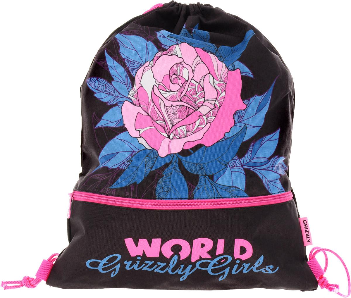 Grizzly Мешок для сменной обуви World Grizzly Girls цвет черный розовыйOM-791-3/3Мешок для обуви Grizzly World Grizzly Girls идеально подойдет как для хранения, так и для переноски сменной обуви и одежды.Мешок выполнен из прочного материала и содержит одно вместительное отделение, затягивающееся с помощью текстильных шнурков, и боковой карман на молнии. Шнурки фиксируются в нижней части сумки, благодаря чему ее можно носить за спиной как рюкзак.