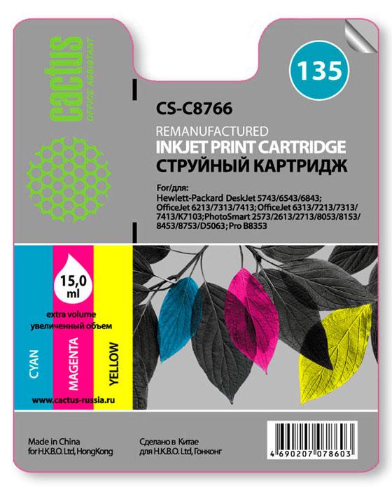 Cactus CS-C8766, Color струйный картридж HP DJ5743/6543/6843, OfficeJet 6213/7313/7413 картридж hp 135 c8766he tri colour для dj5743 6543 6843 oj6213 7313 7413 ps2613 2713 8153 8453