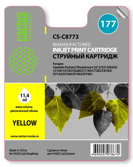 Cactus CS-C8773, Yellow струйный картридж для HP PhotoSmart 3213/3313/8253/C5183/C6183/C6283/C7183/C7283CS-C8773Картридж Cactus CS-C8773 для струйных принтеров HP PhotoSmart.Расходные материалы Cactus для печати максимизируют характеристики принтера. Обеспечивают повышенную четкость изображения и плавность переходов оттенков и полутонов, позволяют отображать мельчайшие детали изображения. Обеспечивают надежное качество печати.
