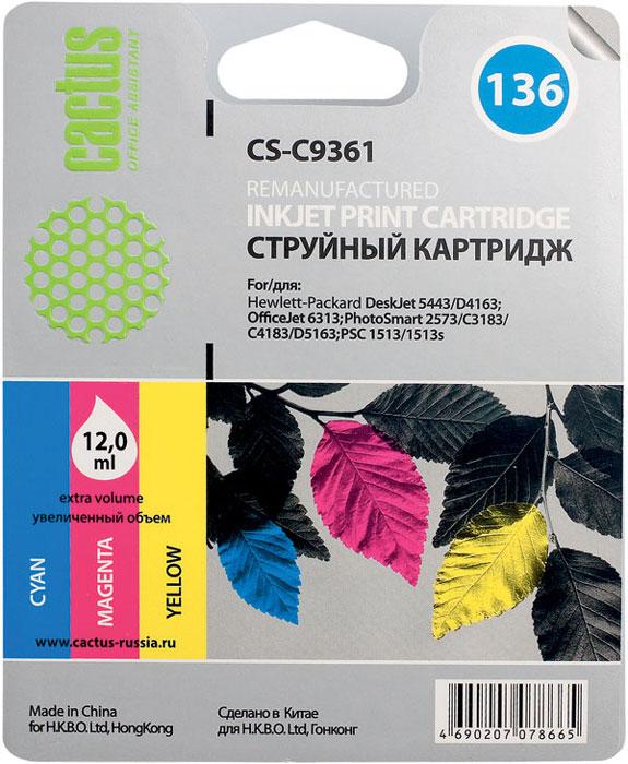 Cactus CS-C9361, Color струйный картридж для HP DeskJet 5443/D4163; OfficeJet 6313; PhotoSmart 2573/C3183 pair of stylish rhinestone heart quadrate reversible earrings for women
