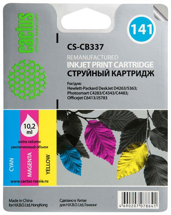 Cactus CS-CB337, Color струйный картридж для HP DeskJet D4263/D4363/D5360; OfficeJet J5783/J6413 картридж cactus cs cb337 141 для hp deskjet d4263 d4363 d5360 officejet j5783 j6413 трехцветный