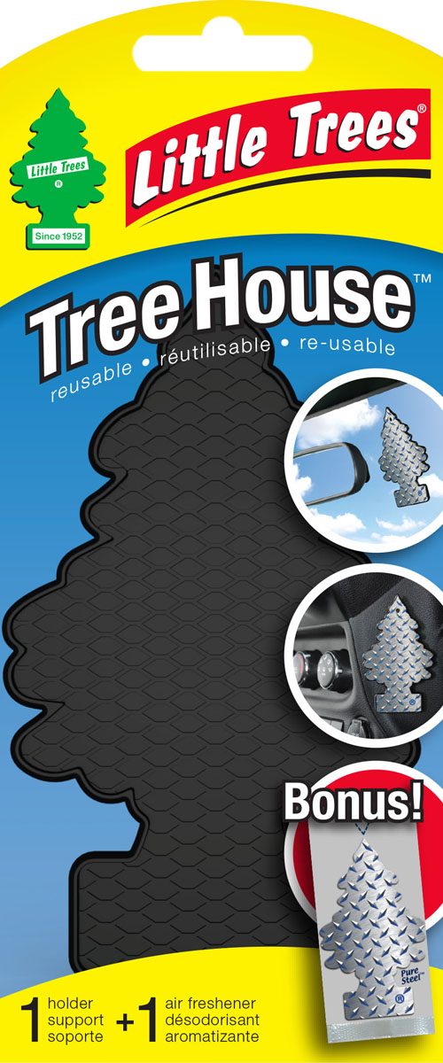Ароматизатор Little Trees Tree House. Елочка, с корпусом для крепления в комплекте. UTH-17152-24BKUTH-17152-24BKTREE HOUSE Самоклеющийся корпус для ёлочек LITTLE TREES с ароматизатором в комплекте.