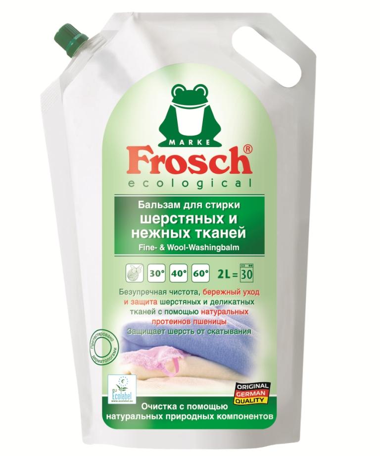 Бальзам Frosch для стирки шерстяных и нежных тканей, 2 л102198Бальзам Frosch предназначен для стирки деликатных тканей. Он идеально подходит для стирки шерсти, вискозы, шелка, синтетических тканей при температуре от 30° до 60° С. Его также можно применять для предварительно обработки пятен. Бальзам обновляет цвет. Средство подходит как для ручной, так и для машиной стирки.Торговая марка Frosch специализируется на выпуске экологически чистой бытовой химии. Для изготовления своей продукции Frosch использует натуральные природные компоненты. Ассортимент содержит все необходимое для бережного ухода за домом и вещами. Эффективно удаляет загрязнения, оберегает кожу рук и безопасна для окружающей среды. Товар сертифицирован. Состав: 5-15% неионогенные ПАВ, менее 5% анионные ПАВ, мыло, энзимы (протеаза, амилаза, целлюлоза), ароматизирующие добавки, протеины пшеницы, ингибитор переноса красителя.Уважаемые клиенты! Обращаем ваше внимание на возможные изменения в дизайне упаковки. Качественные характеристики товара остаются неизменными. Поставка осуществляется в зависимости от наличия на складе.