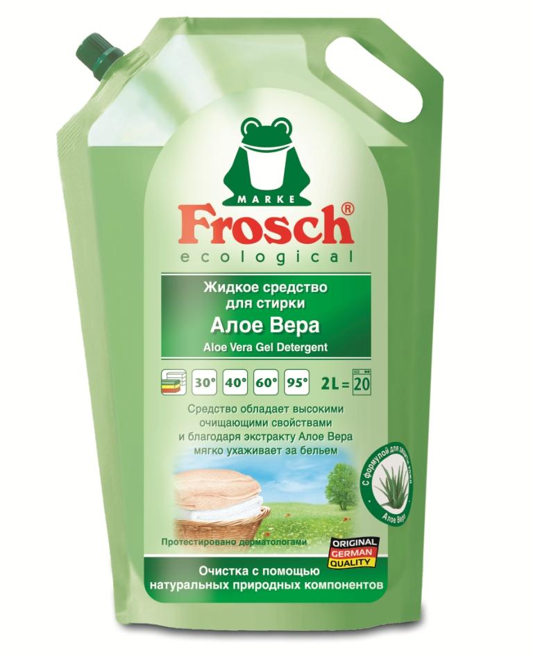 Жидкое средство для стирки Frosch, с Алоэ Вера, 2 л709282Жидкое средство Frosch подходит для стирки всех видов тканей при температуре от 20°C до 95°C. Средство обладает высокими очищающими свойствами и благодаря экстракту Алоэ Вера мягко ухаживает за бельем. Благодаря отобранным ароматизирующим добавкам, входящим в состав, сводится к минимуму риск появления раздражений на коже. Не содержит красителей и консервантов. Подходит для предварительной обработки трудновыводимых пятен.Торговая марка Frosch специализируется на выпуске экологически чистой бытовой химии. Для изготовления своей продукции Frosch использует натуральные природные компоненты. Ассортимент содержит все необходимое для бережного ухода за домом и вещами. Продукция торговой марки Frosch эффективно удаляет загрязнения, оберегает кожу рук и безопасна для окружающей среды. Характеристики: Объем: 2 л. Товар сертифицирован.Уважаемые клиенты! Обращаем ваше внимание на возможные изменения в дизайне упаковки. Качественные характеристики товара остаются неизменными. Поставка осуществляется в зависимости от наличия на складе.