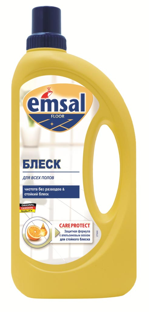 Средство для придания блеска полу Emsal, с апельсиновым воском, 1 л706389Средство Emsal с ухаживающим составом и апельсиновым воском предназначено для придания идеального блеска полу. Оно обеспечивает чистоту и блеск без разводов. Придает поверхности стойкий блеск без дополнительной полировки и обеспечивает стойкую защиту от следов каблуков, царапин и повторного загрязнения. Свежий стойкий апельсиновый аромат. Подходит для применения на всех водоустойчивых полах.Товар сертифицирован.