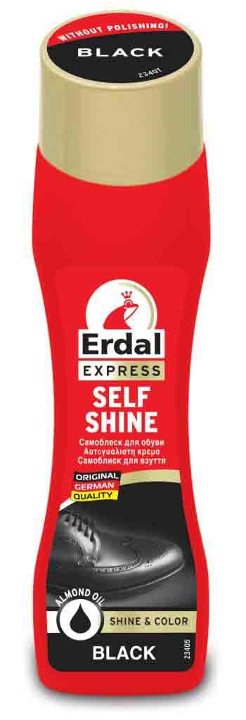 Самоблеск для обуви Erdal, цвет: черный, 75 мл203642Самоблеск Erdal для обуви - содержит пчелиный воск. Идеальный блеск без полировки - для всех видов гладкой кожи. С пропитывающими активными веществами для общей защиты обуви. Состав: Объем: 75 мл. Товар сертифицирован.