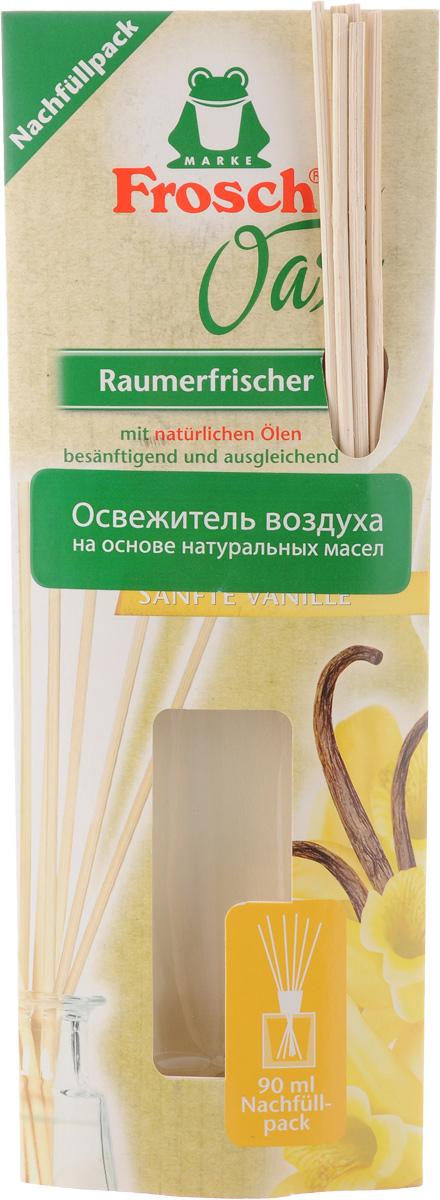"""Освежитель воздуха на основе масел Frosch """"Ванильный бриз""""  приятно освежает и ароматизирует помещение. Освежитель  оказывает чувственное и вдохновляющее воздействие. Тонко  подобранный аромат создаст атмосферу комфорта дома или  приятную обстановку на рабочем месте. Способ применения. Освободите бутылку от пробки и  поставьте прилагаемые в комплекте ротанговые палочки  внутрь бутылки. Когда палочки полностью пропитаются, аромат  распространится во всем помещении. Чем больше  палочек в бутылке, тем интенсивнее запах. В маленьких  помещениях достаточно всего пару палочек для  приятного нежного аромата.  Товар сертифицирован."""