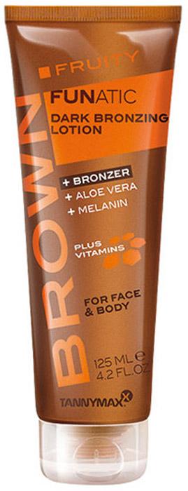 Tannymaxx Brown - Fruity Funatic - крем-ускоритель для загара с бронзатором тройного действия, 125 мл1245Легкие крема для моментального эффекта загара, обеспечивающие коже превосходный основной уход. Содержат бронзатор тройного действия (карамель, ДГА, эритрулоза), который придает коже красивый темный оттенок, а также ускоряет естественный загар кожи на солнце или в солярии. Подходят для лица и тела. Сочетание таких ингредиентов, как Алоэ вера, экстракт персика и комплекс витаминов А, С и Е, помогает регенерации кожи, делает ее более гладкой, предотвращает сухость, защищает кожу от свободных радикалов. Интенсивно питают, тонизируют, увлажняют кожу, способствуя проявлению более устойчивого загара.