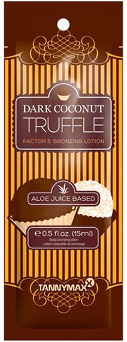 Tannymaxx Крем-ускоритель для загара с 5-ти кратным бронзатором 6th Sense Dark Coconut Truffle Factor 5, на основе алоэ вера, 15 мл1560Профессиональное средство для загара с самым темным 5-ти кратным бронзатором, для получения максимально насыщенного и самого глубокого загара. Специальный экстракт трюфеля вместе с экстрактом кокоса имеют высокое содержание витамина С, который укрепляет защитные механизмы кожи, делает ее более упругой. Крема с бронзаторами линии 6th Sense основаны на соке Алоэ вера, который идеально увлажняет кожу и укрепляет соединительную ткань, помогает ускорить метаболизм и обновление клеток, делая кожу гладкой и красивой. Масло ши и масло купуасу обеспечивают интенсивный уход за кожей, а также защищают ее от сухости. Экстракты абрикоса и ананаса в комплексе с витаминами A, C и E дарят коже свежий вид, обогащая ее энергией.