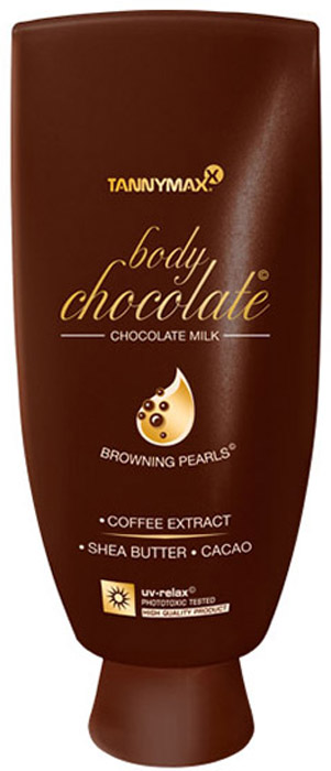 Tannymaxx Молочко-ускоритель для загара Body Chocolate Body Chocolate, с натуральными бронзаторами и гранулами масла какао, 200 мл