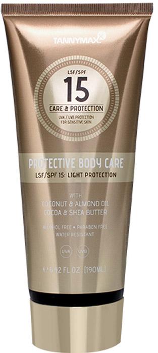 Tannymaxx Cолнцезащитное водостойкое средство для тела и лица SPF 15 Protective Body Care, с ухаживающими компонентами, 190 мл1915Теперь Вам больше не придется выбирать между защитой от солнца и уходом за кожей – Protective Body Care справится с обеими задачами! Комбинация защитных фильтров широкого спектра действия (UVA + UVB) и ухаживающих ингредиентов позволит достичь красивого ровного загара и уберечь кожу от негативного влияния солнечных лучей. Предотвращает появление пигментных пятен. Содержащиеся в креме натуральные масла повышают естественный защитный барьер кожи, снимают раздражение и глубоко питают кожу, поддерживают оптимальный уровень увлажнения кожи в течение всего дня, способствуют регенерации. Обладает водостойким действием. Подходит для чувствительной кожи. Для лица и тела. Не содержит спирта и парабенов.