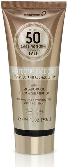 Tannymaxx Cолнцезащитное водостойкое средство для лица, шеи и зоны декольте Protective Face Care SPF 50 с Anti-age эффектом, 75 мл1945Омолаживающий солнцезащитный крем для лица. Теперь Вам больше не придется выбирать. Protective Face Care обеспечивает интенсивный уход, а также защиту от солнца. Комбинация защитных фильтров широкого спектра действия (UVA + UVB) и ухаживающих ингредиентов позволит достичь красивого ровного загара и уберечь кожу лица от негативного влияния солнечных лучей. Специально разработан для кожи лица. Предотвращает возникновение гиперпигментированных участков на коже. Коэнзим Q10 и гиалуроновая кислота активно стимулируют синтез коллагена и эластина, заметно уменьшают количество и глубину мимических и возрастных морщин, препятствуют потере влаги, способствуют регенерации эпидермиса, улучшают тонус. Содержащиеся в креме натуральные масла витаминизируют и питают кожу, защищают от негативного действия свободных радикалов, препятствуют преждевременному старению. Оказывают глубокий увлажняющий эффект, устраняют раздражение и шелушение, возвращая коже мягкость и нежность. Обладает водостойким действием. Подходит для чувствительной кожи. Не содержит спирта и парабенов.