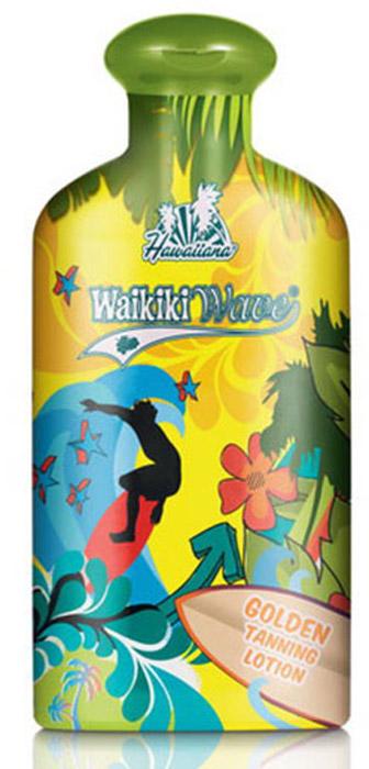 Hawaiiana Крем-ускоритель для загара Waikiki Wave Golden Tanning Lotion, с фруктовым коктейлем и легким натуральным бронзатором, 200 мл5215Профессиональное средство для быстрого получения базового загара. Фруктовый коктейль из экстрактов гуайявы, киви, кокоса и манго оказывают идеальное увлажнение и питание кожи. Комплекс активаторов с тирозином позволяют получить настоящий гавайский загар. Экстракты апельсина, лимона, черники, а также витамины, входящие в состав крема, являются сильными антиоксидантами, которые защищают Вашу кожу от неблагоприятного воздействия окружающей среды. Омолаживающий эффект этих компонентов в сочетании с действием легкого натурального бронзатора (грецкий орех) обеспечивает Вашему загару золотистый оттенок и сияние, как на гавайском пляже Вайкики!