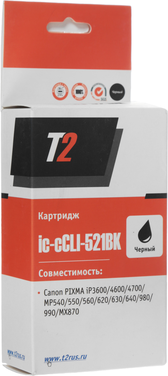 T2 IC-CCLI-521BK картридж для Canon MP540/620/630/980/PIXMA iP4700, Black