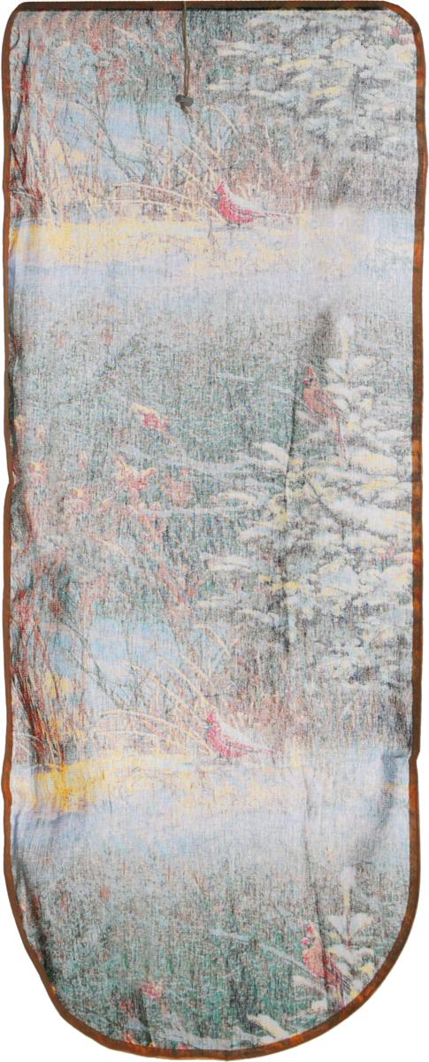 Чехол для гладильной доски Detalle Природа, универнсальный, цвет: зеленый, коричневый, желтый, 125 х 47 смЕ1301_зеленый, коричневый, желтыйЧехол для гладильной доски Detalle Природа, выполненный из хлопка с подкладкой из мягкого войлокообразного полотна (ПЭФ), предназначен для защиты или замены изношенного покрытия гладильной доски. Чехол снабжен стягивающим шнуром, при помощи которого вы легко отрегулируете оптимальное натяжение чехла и зафиксируете его на рабочей поверхности гладильной доски.Из войлокообразного полотна вы можете вырезать подкладку любого размера, подходящую именно для вашей доски. Этот качественный чехол обеспечит вам легкое глажение. Он предотвратит образование блеска и отпечатков металлической сетки гладильной доски на одежде. Войлокообразное полотно практично и долговечно в использовании. Размер чехла: 125 x 47 см.Максимальный размер доски: 120 х 42 см.Размер войлочного полотна: 130 х 52 см.