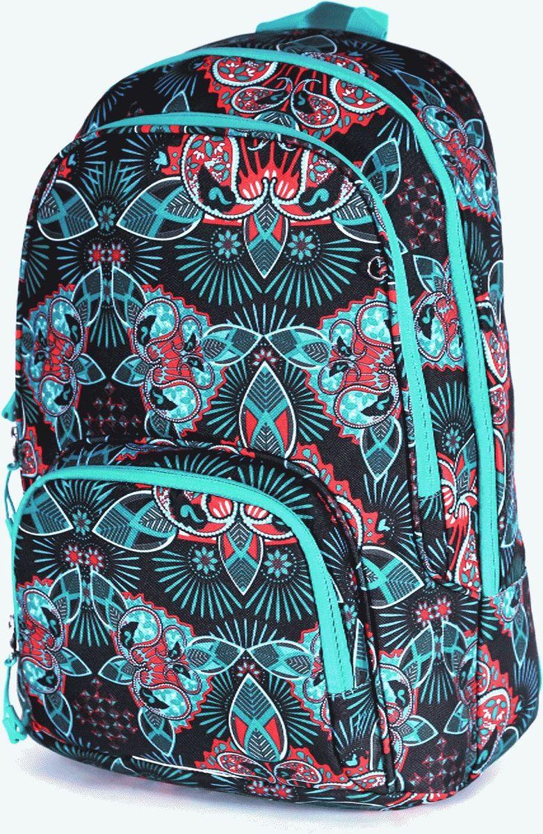 UFO People Рюкзак цвет черный бирюзовый 76517651Легкий молодежный рюкзак UFO People выполнен из нейлоновой ткани на основе PU. Рюкзак имеет плотную анатомическую спинку.Изделие содержит два основных вместительных отделения на застежках-молниях, передний кармашек для мелких предметов и внутренний кармашек для документов. Плотные лямки регулируемой длины имеют усиливающую отстрочку Антиразрыв.
