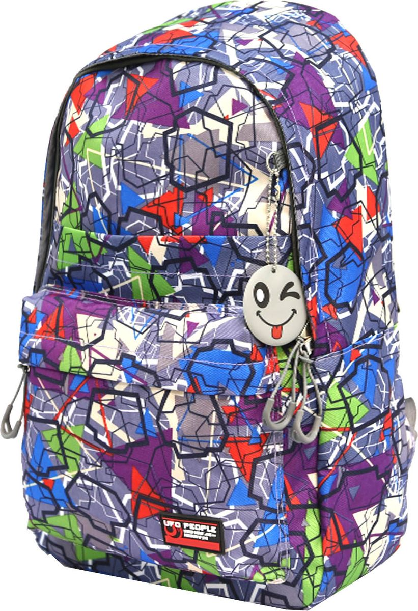 UFO People Рюкзак цвет синий 76877687Легкий молодежный рюкзак UFO People выполнен из нейлоновой ткани на основе PU. Рюкзак имеет плотную спинку.Изделие содержит одно основное вместительное отделение, передний кармашек для мелких предметов и внутренний кармашек для документов.Рюкзак оснащен плотными лямками регулируемой длины и текстильной ручкой для переноски в руках.