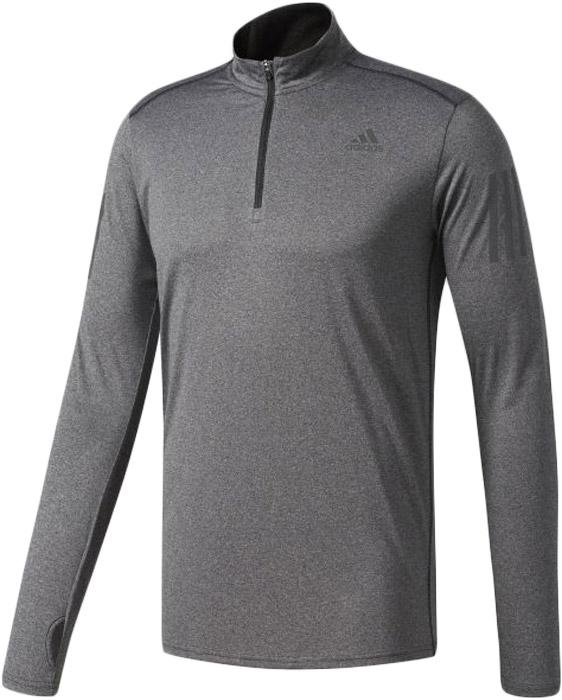 Лонгслив для бега мужской Adidas Rs Ls Zip Tee M, цвет: серый. B47699. Размер L (52/54)B47699Мужская футболка Adidas с длинными рукавами и воротником стойкой изготовлена из полиэстера. Ткань с технологией climalite быстро и эффективно отводит влагу с поверхности кожи, поддерживая комфортный микроклимат. Лонгслив декорирован светоотражающими элементами. Модель дополнена спереди застежкой-молнией.