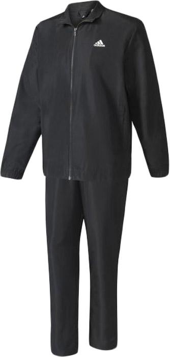 Костюм спортивный мужской Adidas Wv 24-7 Ts, цвет: черный. BK4106. Размер 5 (48)BK4106Мужской спортивный костюм adidas включает в себя ветровку и спортивные брюки. Ветровка с длинными рукавами застегивается спереди на молнию. Модель изготовлена из высококачественного полиэстера. Вшитая сетчатая подкладка обеспечивает циркуляцию воздуха и вентиляцию. Ветровка дополнена двумя прорезными карманами спереди. Спортивные брюки выполнены из полиэстера. Модель имеет широкую эластичную резинку на поясе.
