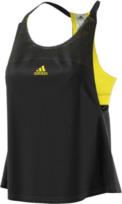 Майка для тенниса женская Adidas Us Series Tank, цвет: черный, желтый. BP5233. Размер 42 (48)BP5233Удобная женская майка Adidas, выполненная из полиэстера, гарантирует комфорт во время длительных тренировок. Вшитый бюстгальтер с удобными съемными чашечками выполнен из ткани контрастного цвета, которая видна через сетчатый материал спереди. Технология climacool® и сетка на спине обеспечивают эффективную вентиляцию в ключевых зонах.
