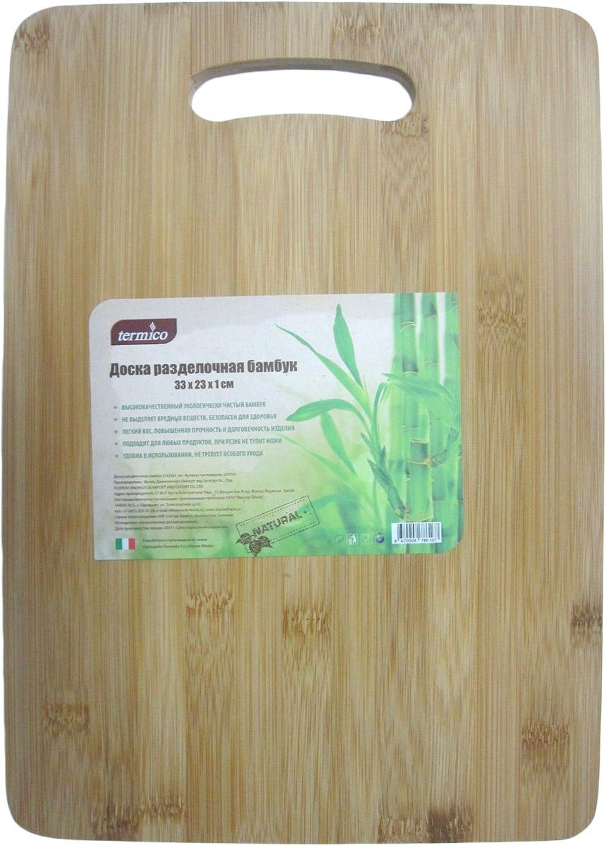 Доска разделочная Termico, 33 x 23 x 1 см220743Разделочная доска Termico выполнена из высококачественного, экологически чистого бамбука. Материал не выделяет вредных веществ и безопасен для здоровья. Доска подходит для любых продуктов, при резке не тупит ножи, имеет легкий вес, повышенную прочность и долговечность. Не требует особого ухода.