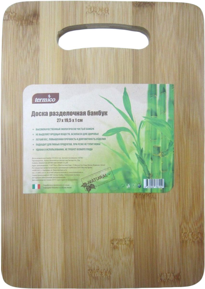 """Разделочная доска """"Termico"""" выполнена из высококачественного, экологически чистого бамбука. Материал не выделяет вредных веществ и безопасен для здоровья. Доска подходит для любых продуктов, при резке не тупит ножи, имеет легкий вес, повышенную прочность и долговечность. Не требует особого ухода."""